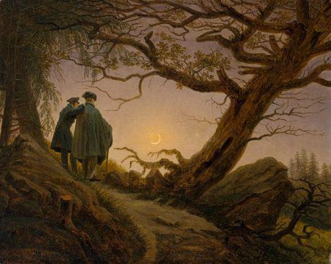 Dos hombres contemplando la luna (1819), Caspar David Friedrich.