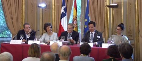 Mesa del acto (de izq.a drcha): Ruiz Amezcua, María Ángeles Osorio, Gabriele Morelli, Iñigo de Palacio España, Daniella González Maldini